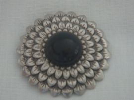 Flower Dress Clip - 1940s Art Deco Design - Silvertone Metal with Black (SOLD)
